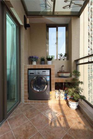现代风格洗衣机放阳台效果图