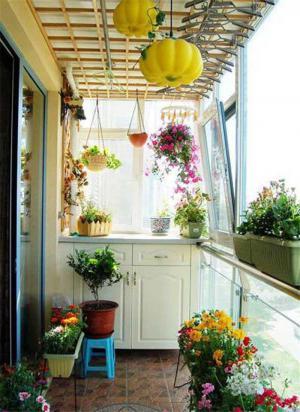 花园美式风格阳台效果图